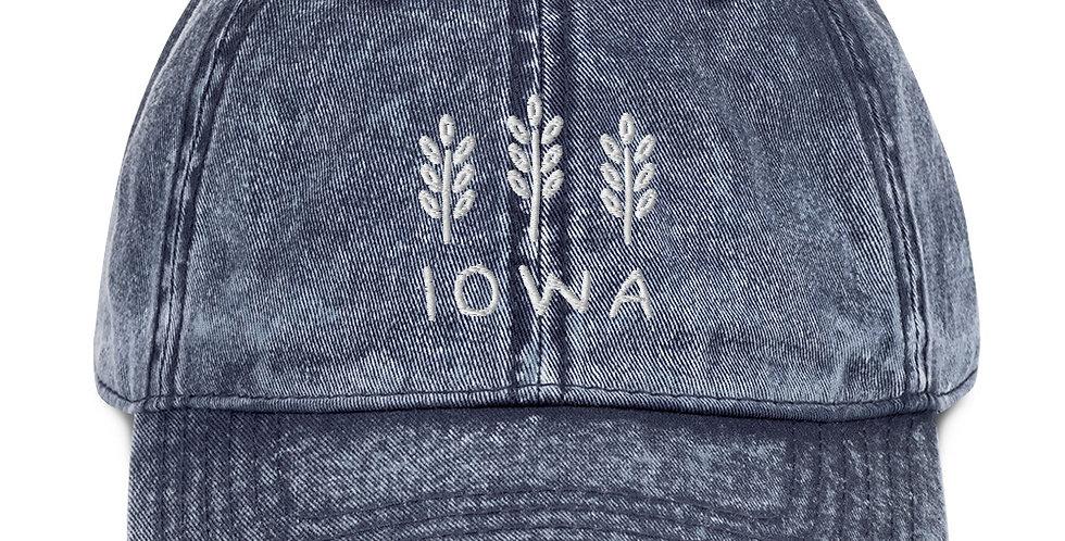 Vintage Iowa Hat White Thread