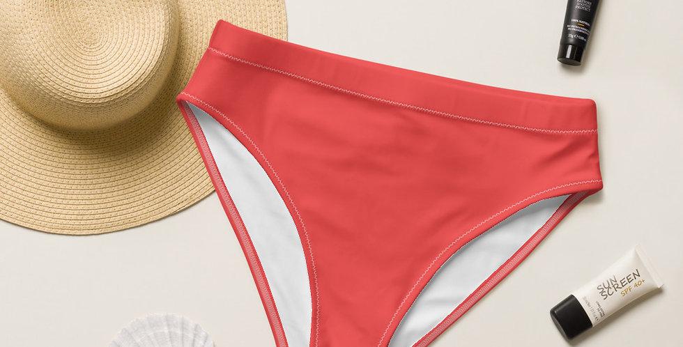 Coral Recycled High-Waisted Bikini Bottom
