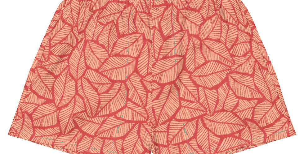 Peach Tropical Leaf Women's Athletic Vegan Shorts