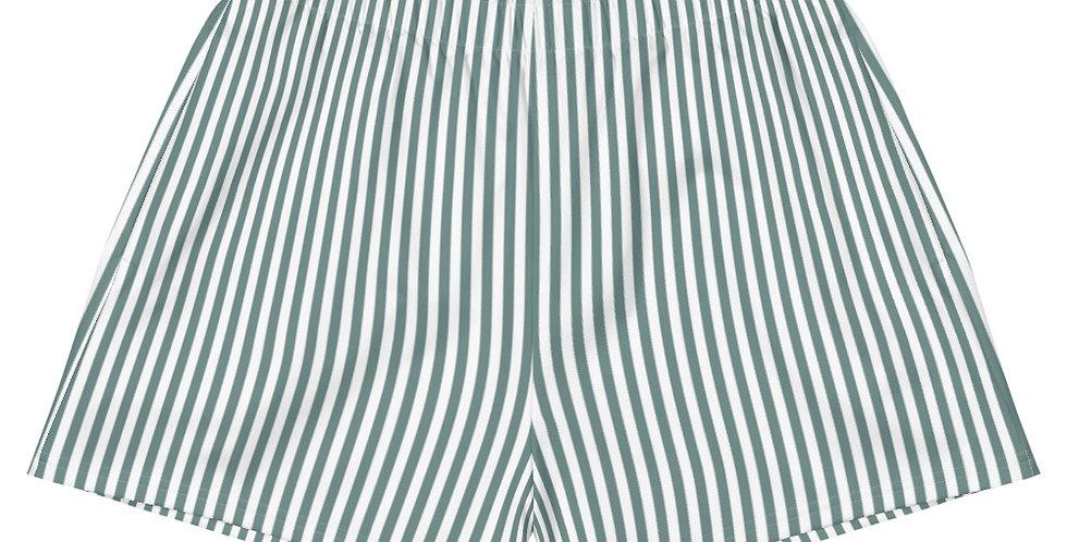 Sage Stripe Women's Athletic Vegan Shorts