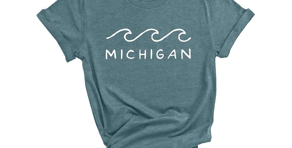 Fresh Water Wave Michigan T-Shirt