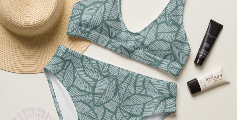 Tropical Sage Leaf Recycled High-Waisted Bikini