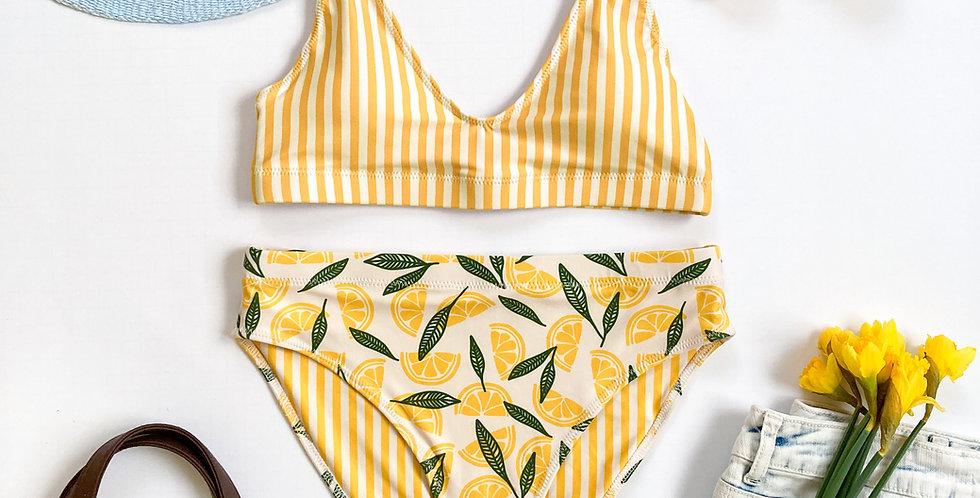Lemon Bottom Strip Top Recycled High-Waisted Bikini