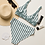 Thumbnail: Sage Leaf Strip Bottom Recycled High-Waisted Bikini