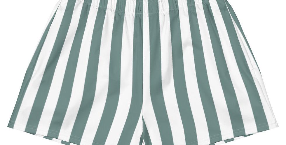 Sage Stripe Women's Athletic Shorts