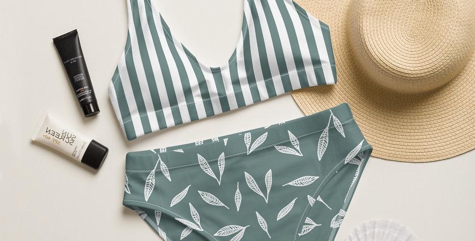Sage Leaf Strip Top Recycled High-Waisted Bikini