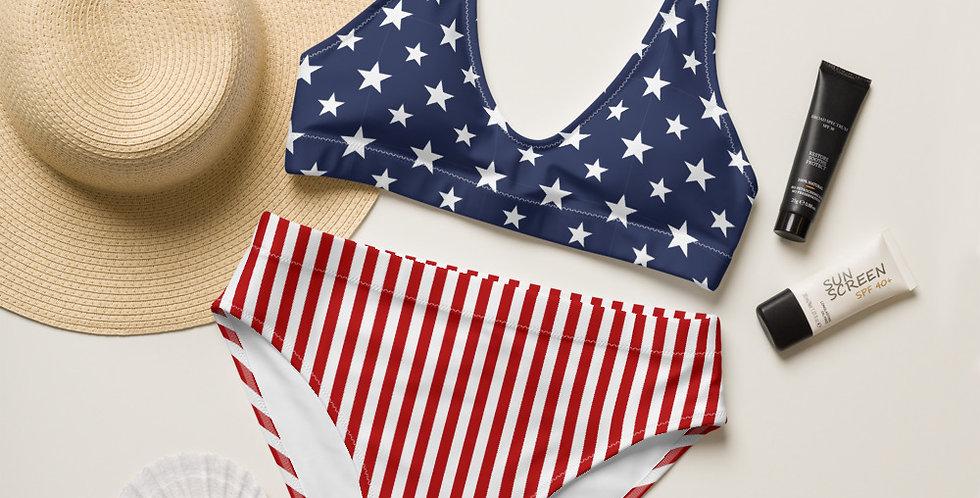 Stars and Stripes Recycled High-Waisted Bikini