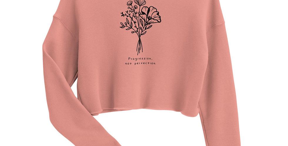 Progression Not Perfection Black Ink Crop Sweatshirt