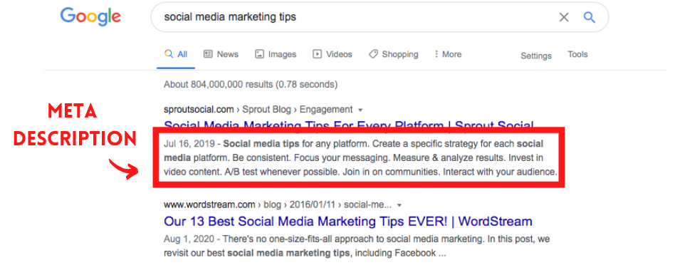 """Screenshot of a SERP with """"Meta Description"""" and an arrow pointing to a red box with the page meta description"""