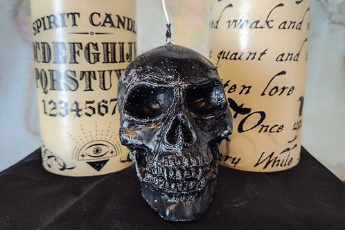 Medium Black Bleeding Skull Candle