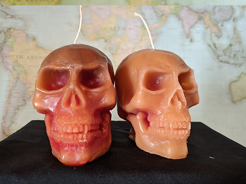 Medium Brown Bleeding Skull Candle