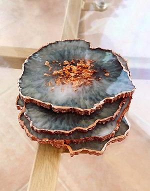 Agate Coasters | Smokey Quartz | Set of 4