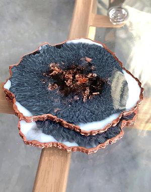Agate Coasters | Smokey Quartz | Set of 2