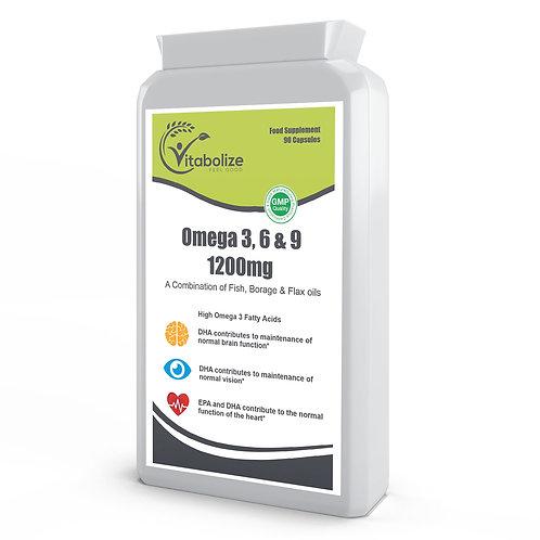 Omega 3, 6 & 9 Fish Oil 1200mg 90 Capsules