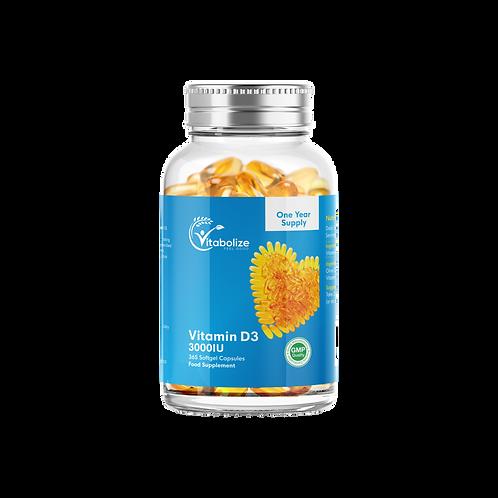 Vitamin D3 3000iu Softgels - High Strength - One Year Supply no