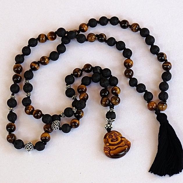 Stones Mala (Tiger Eye Lava)