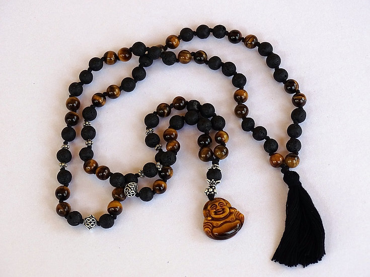 Stones Mala (Tiger Eye & Lava)