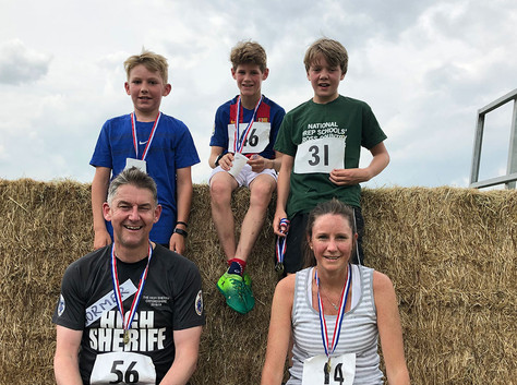 The fastest adult and child runners of the 2019 Buttercup Run including the former High Sheriff, Richard Venables