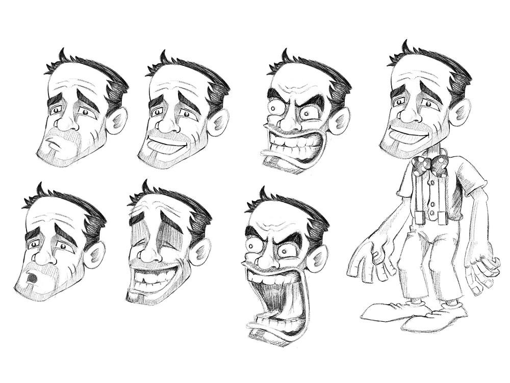 الفشافيش رسم شخصية العتاك وتعابير وجهه