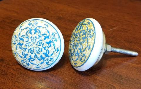 Ceramic Floral Flat Dresser Knob