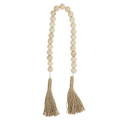 Natural Wood Beads with Jute Tassle