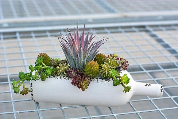 Wine Bottle Artificial Succulent Arrangement
