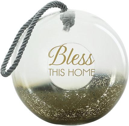 "Bless - 9.5"" Gold Glass Lantern"