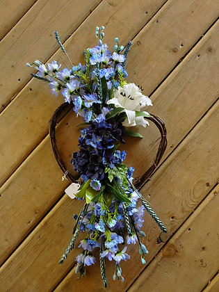 Blue Memorial Grapevine Heart Wreath