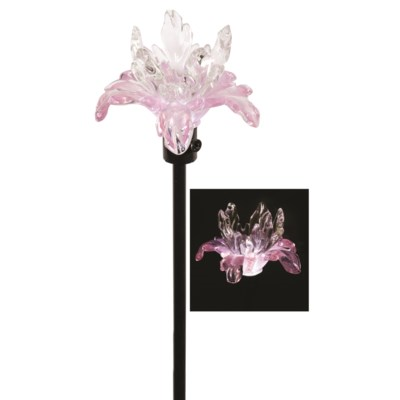 Clear and Pink Flower Solar Stake