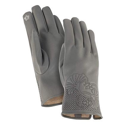 Grey Floral Cuff Gloves