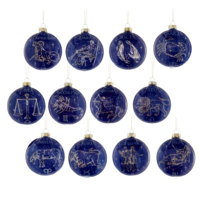 80mm Glass Zodiac Ornament