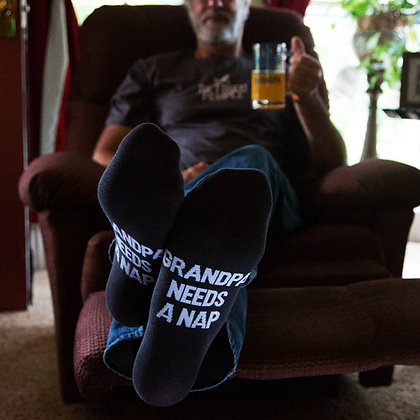 Grandpa Nap - Mens Cotton Blend Socks