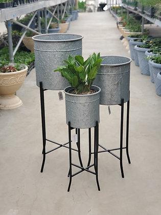 Metal Galvanized Corrugated Planters w/ Stand