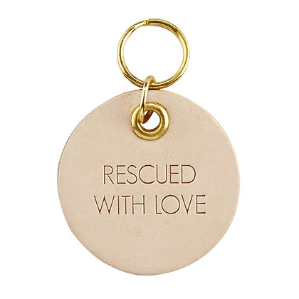 Leather Pet Tag- Rescued