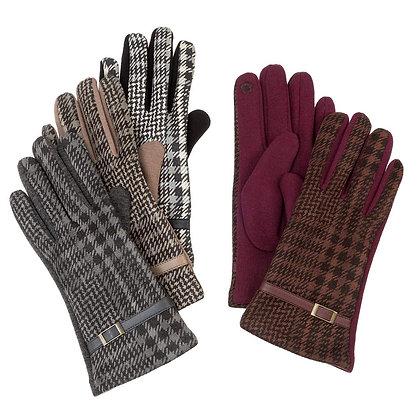 Vintage Plaid w Pull Strap Gloves