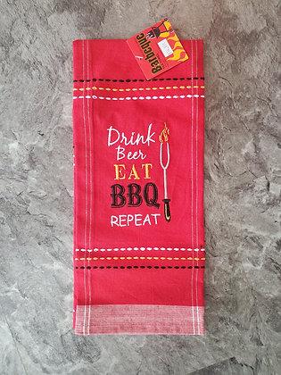 Eat, BBQ, Repeat Tea Towel