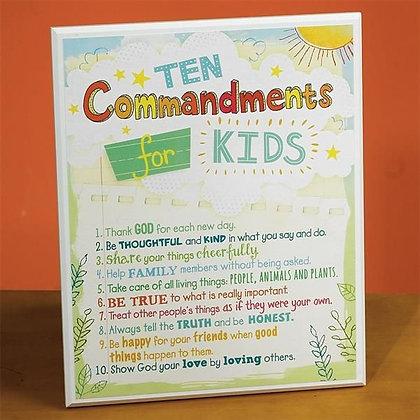 10 Commandments Kids Plaque