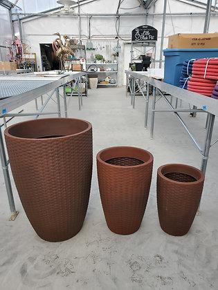 Corten Steel Rattan Conic Planter