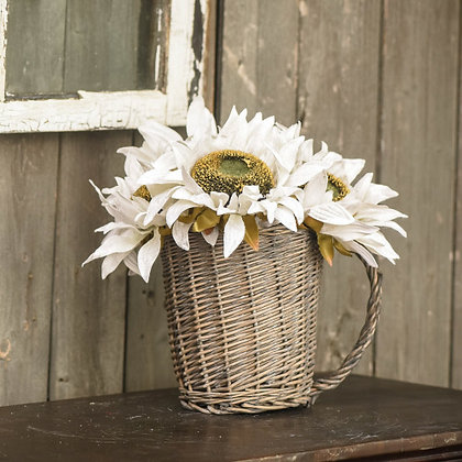 "8"" Cream Sunflower Pick"