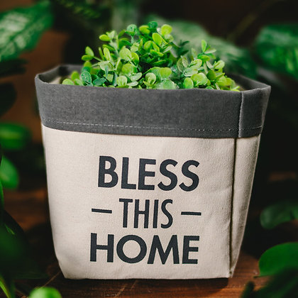 Bless This Home - Canvas Planter Cover