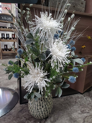 White Mums Artificial Floral Arrangement