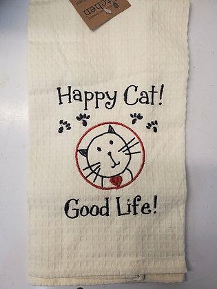 Happy Cat Good Life Tea Towel