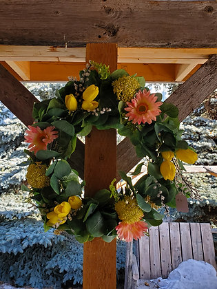 Pink/Yellow Grapevine Wreath