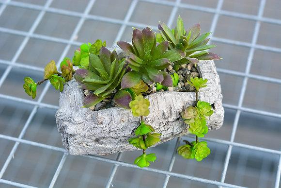 Small Cement Log Artificial Succulent