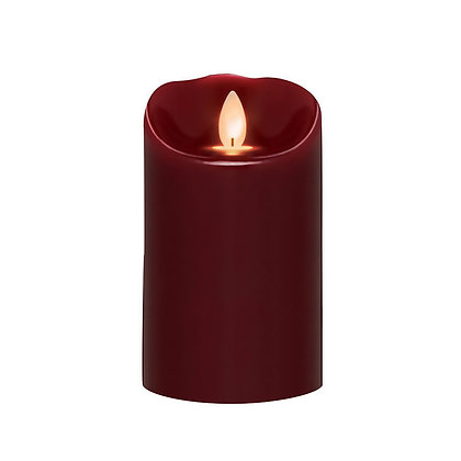 Oxblood LED Smooth Pillar Candle