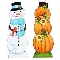 Double Sided Pumpkin/Snowman Porch Leaner