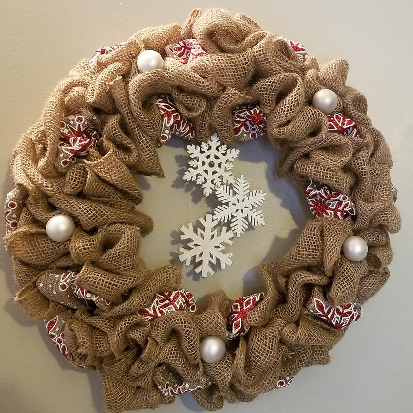 Accented Burlap Christmas Wreath