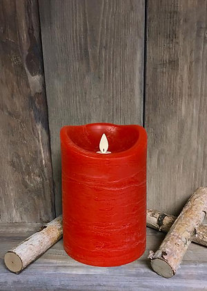 "4""x6"" Red Rustic Finish LED Candle with Moving Flame"