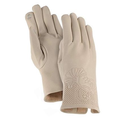 Cream Floral Cuff Gloves