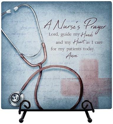 Nurses Prayer Plaque with Easel